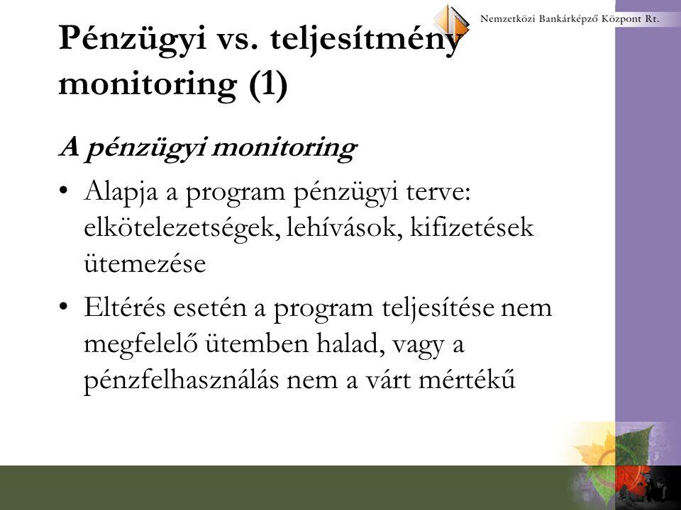 Pénzügyi vs. teljesítmény monitoring (1) A pénzügyi monitoring Alapja a program pénzügyi terve: elkötelezetségek, lehívások, kifizetések ütemezése Elt