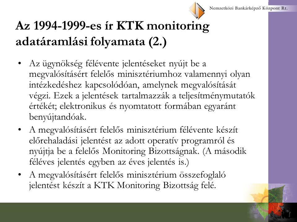 Az 1994-1999-es ír KTK monitoring adatáramlási folyamata (2.) Az ügynökség félévente jelentéseket nyújt be a megvalósításért felelős minisztériumhoz v