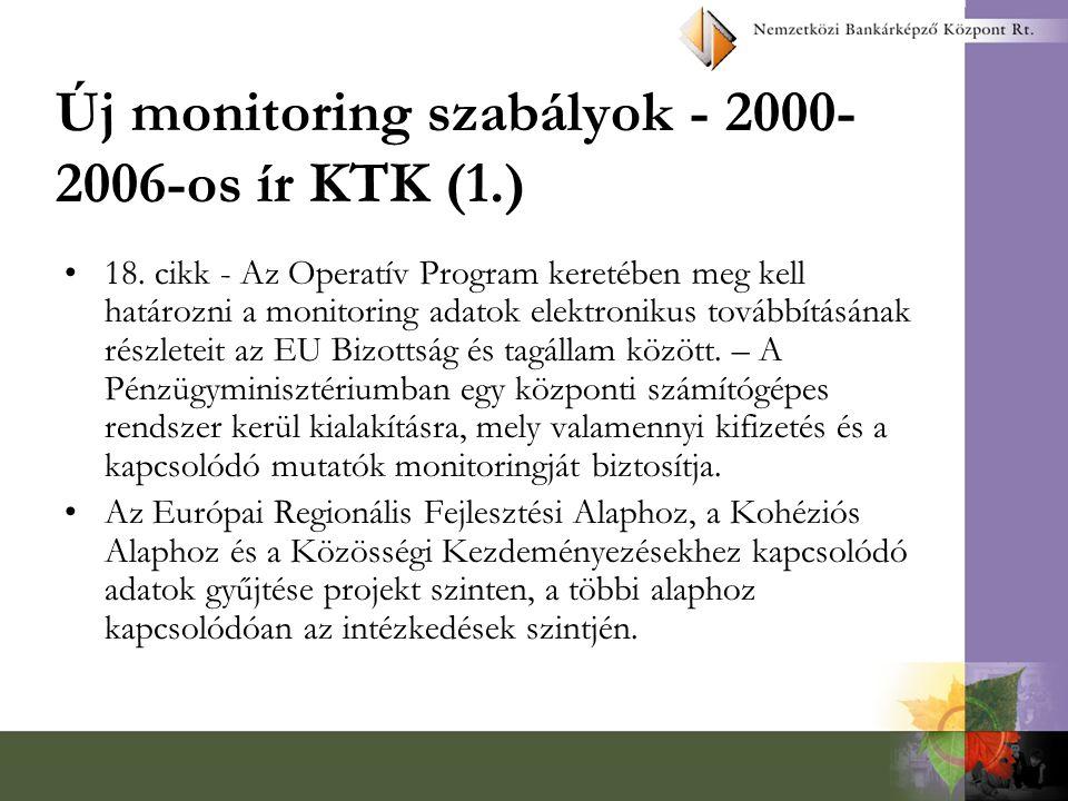 Új monitoring szabályok - 2000- 2006-os ír KTK (1.) 18. cikk - Az Operatív Program keretében meg kell határozni a monitoring adatok elektronikus továb