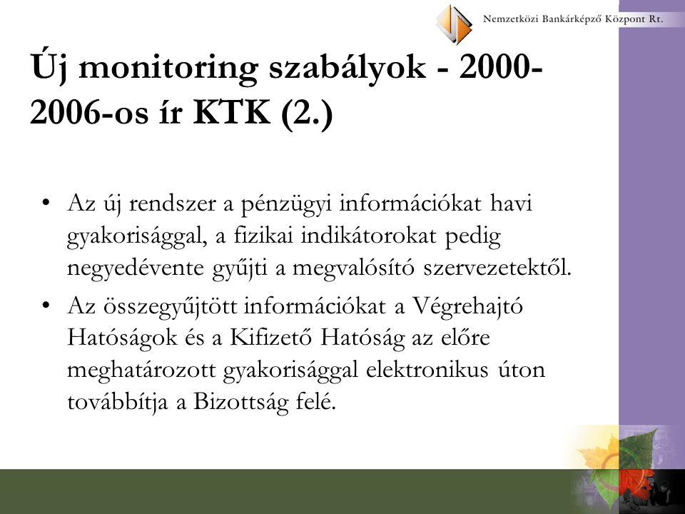 Új monitoring szabályok - 2000- 2006-os ír KTK (2.) Az új rendszer a pénzügyi információkat havi gyakorisággal, a fizikai indikátorokat pedig negyedévente gyűjti a megvalósító szervezetektől.