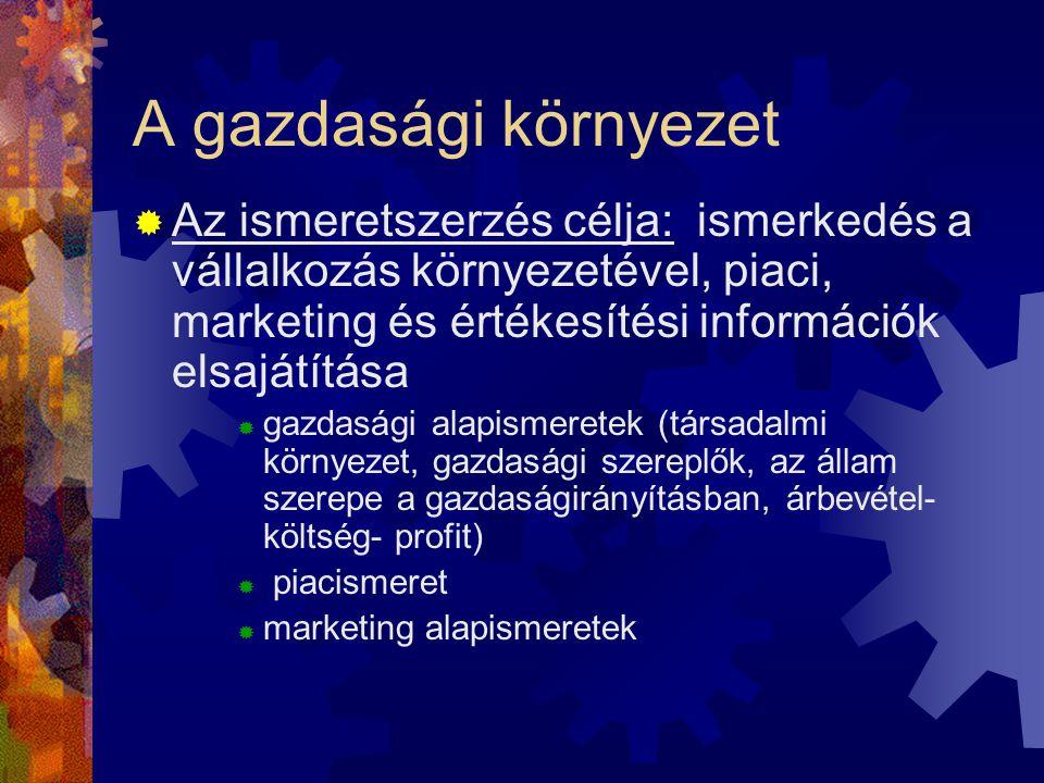 A gazdasági környezet  Az ismeretszerzés célja: ismerkedés a vállalkozás környezetével, piaci, marketing és értékesítési információk elsajátítása  g