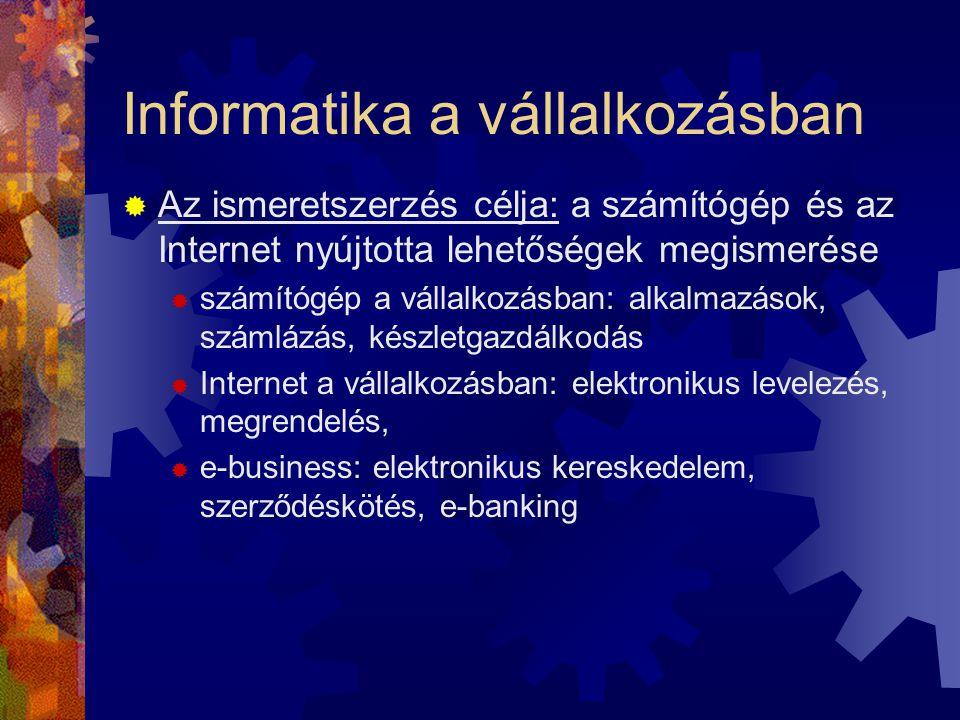 Informatika a vállalkozásban  Az ismeretszerzés célja: a számítógép és az Internet nyújtotta lehetőségek megismerése  számítógép a vállalkozásban: a