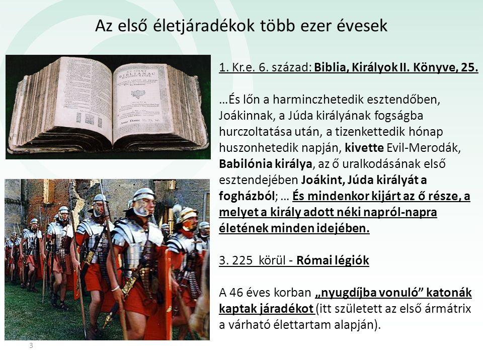 Az első életjáradékok több ezer évesek 3 1. Kr.e. 6. század: Biblia, Királyok II. Könyve, 25. …És lőn a harminczhetedik esztendőben, Joákinnak, a Júda