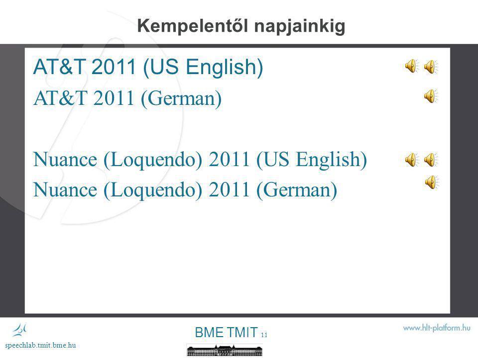 BME TMIT 10 speechlab.tmit.bme.hu ProfiVox diád 1995- ProfiVox triád 2000- ProfiVox korpusz 2002- ProfiVox HMM 2005- Kempelentől napjainkig