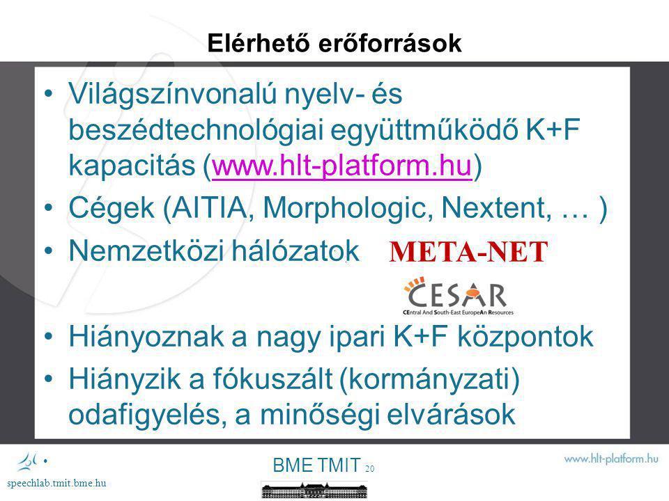 BME TMIT 19 speechlab.tmit.bme.hu A magyar nyelvű beszédtechnológia eredményei MailMondó Westel BME TMIT 1999 T-Mobile Westel BME TMIT 2003 T-Mobile MIT Systems Digital Natives BME TMIT 2008 AITIA MonSpeech Vodafone Montana, AITIA, 2012 BME TMIT, MTA Nytud Freedom BME TMIT 2002 Scientific Informatika a Látássérültekért