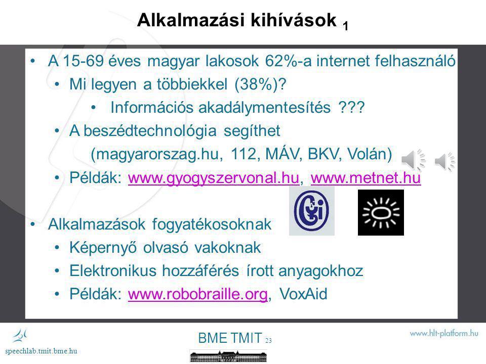 """BME TMIT 22 speechlab.tmit.bme.hu Kutatási kihívások 2 A rejtélyes völgy - """"uncanny valley elkerülése"""