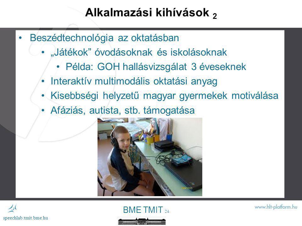 BME TMIT 23 speechlab.tmit.bme.hu Alkalmazási kihívások 1 A 15-69 éves magyar lakosok 62%-a internet felhasználó Mi legyen a többiekkel (38%).