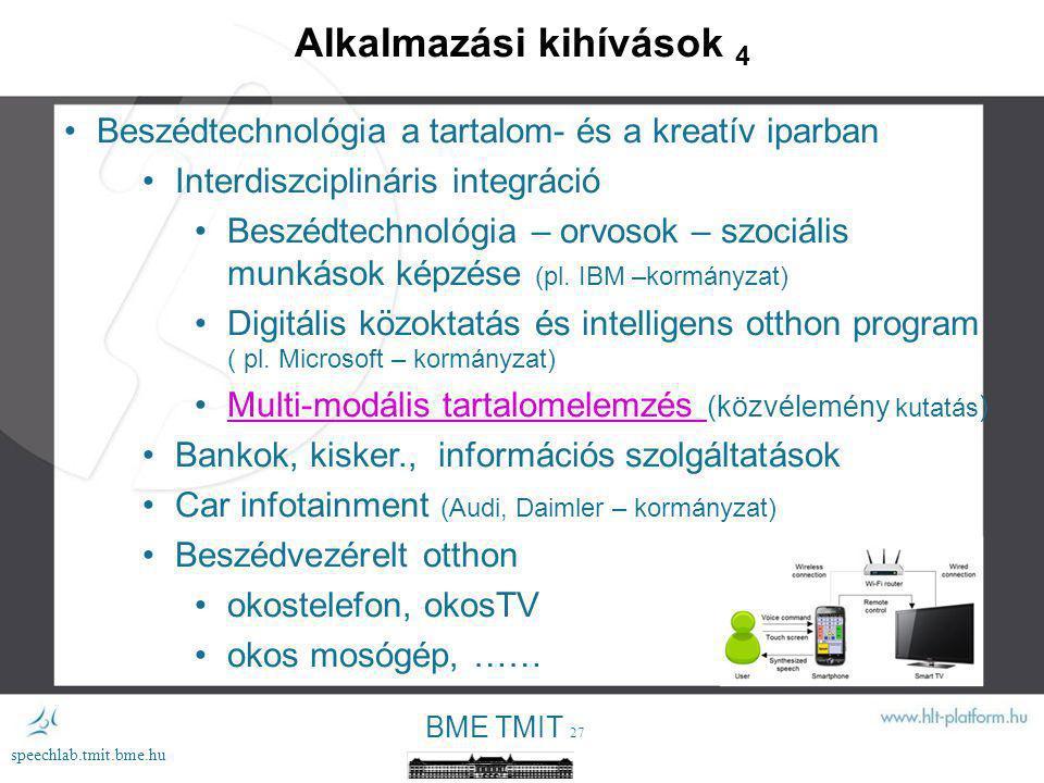 BME TMIT 26 speechlab.tmit.bme.hu Alkalmazási kihívások 4 Beszédtechnológia a tartalom- és a kreatív iparban Interdiszciplináris integráció Beszédtechnológia – orvosok – szociális munkások képzése (pl.