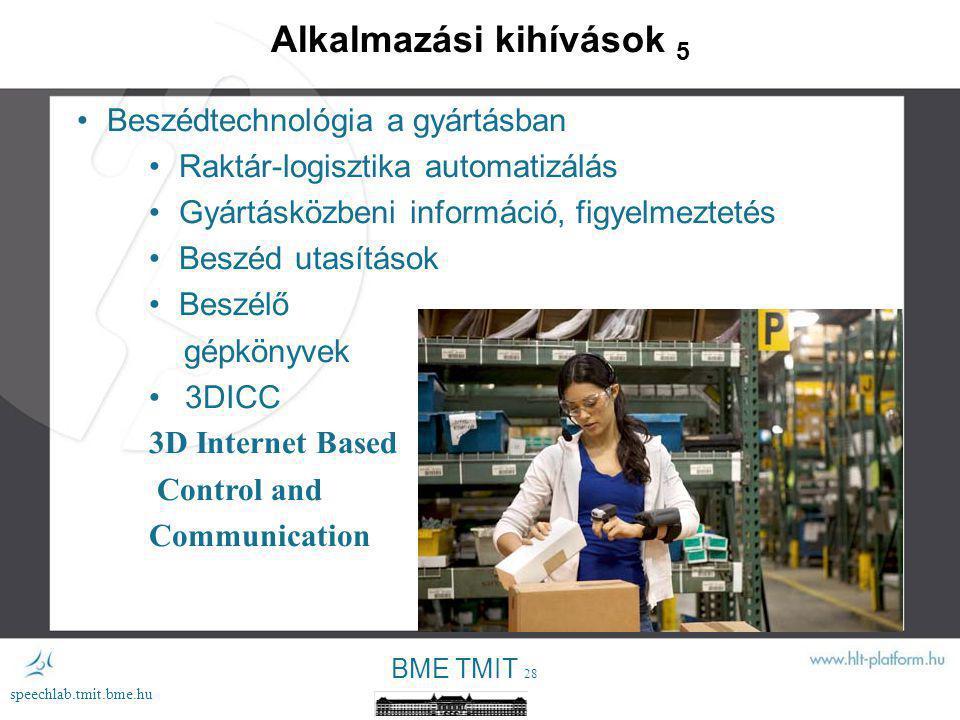 BME TMIT 27 speechlab.tmit.bme.hu Alkalmazási kihívások 4 Beszédtechnológia a tartalom- és a kreatív iparban Interdiszciplináris integráció Beszédtechnológia – orvosok – szociális munkások képzése (pl.