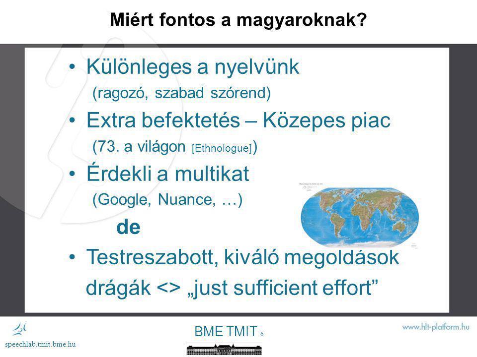 BME TMIT 5 speechlab.tmit.bme.hu Miért fontos általában.