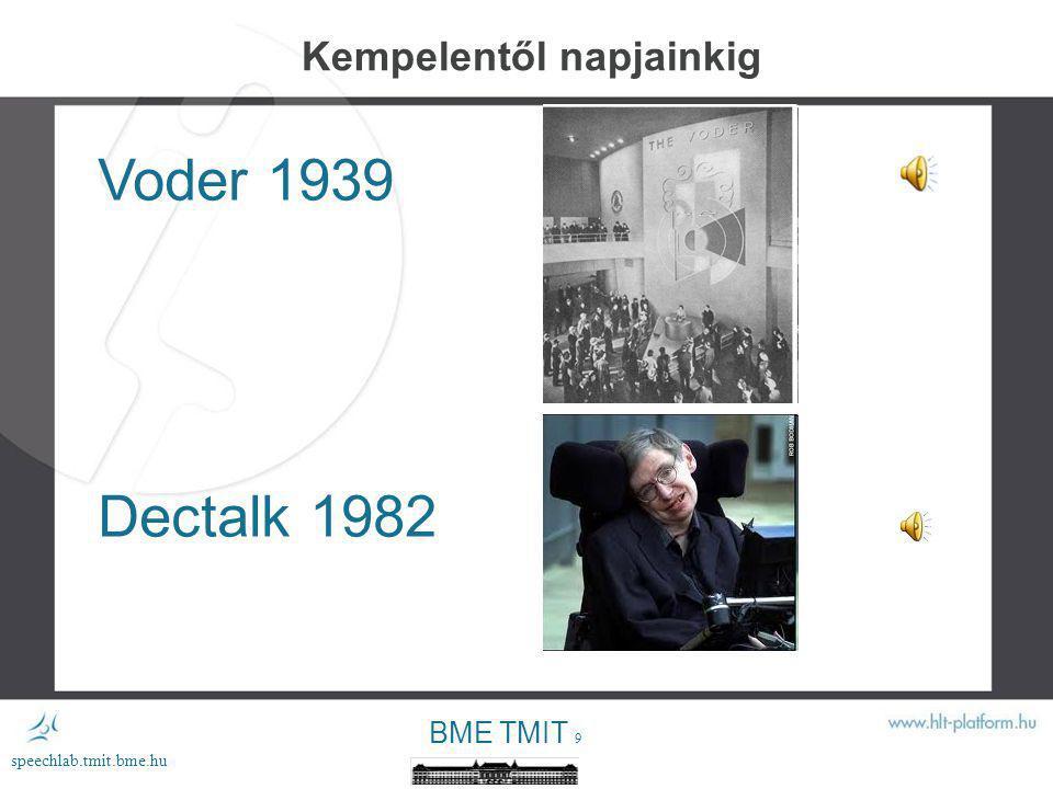 BME TMIT 9 speechlab.tmit.bme.hu Kempelentől napjainkig Voder 1939 Dectalk 1982