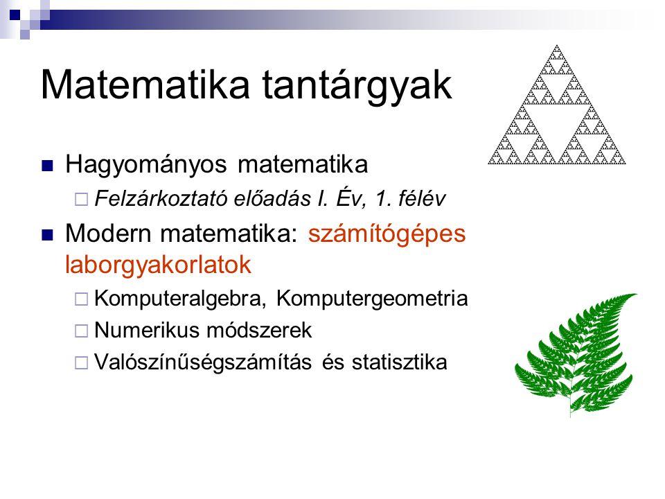 Matematika tantárgyak Hagyományos matematika  Felzárkoztató előadás I.