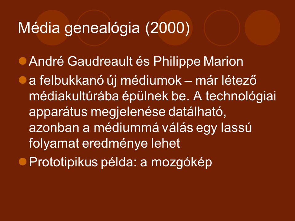 Média genealógia (2000) André Gaudreault és Philippe Marion a felbukkanó új médiumok – már létező médiakultúrába épülnek be. A technológiai apparátus