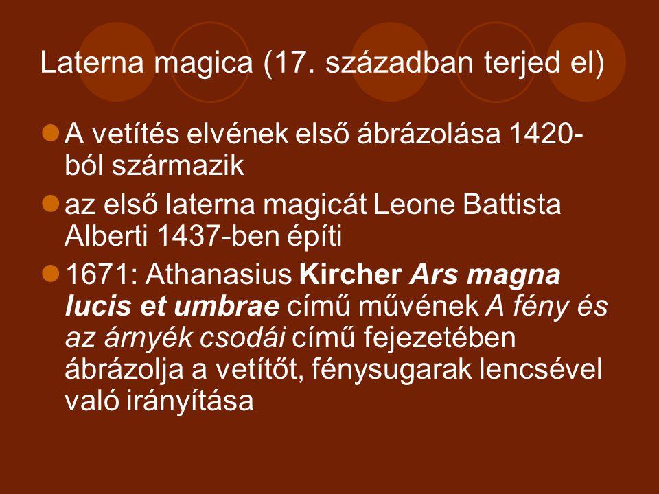 Laterna magica Lencsék tökéletesítése tudósok által a holland Christian Huygens (1629-1695) és a dán Thomas Walgenstein (1622- 1701) 1665-ben kiállítják, közönségnek is vetítenek Átkerül az eszköz a vándorló mutatványosok kezébe – mágikus eszköz, populáris szórakoztatás