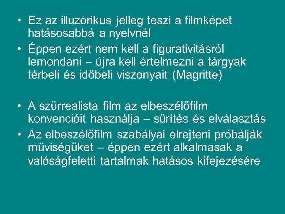 Ez az illuzórikus jelleg teszi a filmképet hatásosabbá a nyelvnél Éppen ezért nem kell a figurativitásról lemondani – újra kell értelmezni a tárgyak t