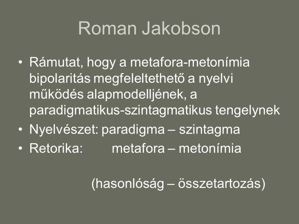 Roman Jakobson Rámutat, hogy a metafora-metonímia bipolaritás megfeleltethető a nyelvi működés alapmodelljének, a paradigmatikus-szintagmatikus tengelynek Nyelvészet: paradigma – szintagma Retorika: metafora – metonímia (hasonlóság – összetartozás)