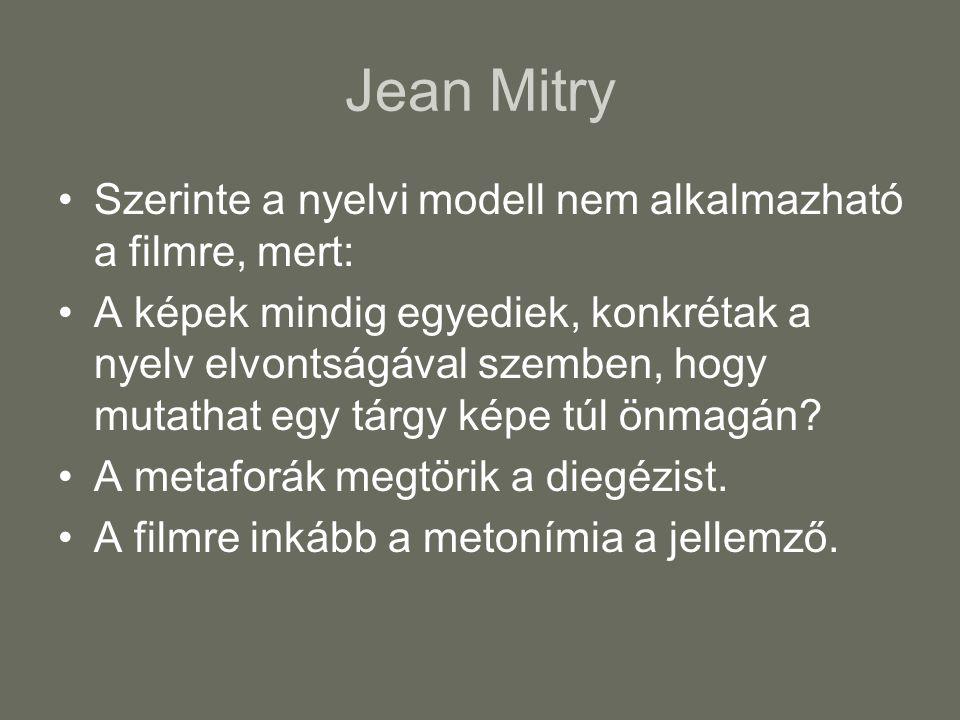 Jean Mitry Szerinte a nyelvi modell nem alkalmazható a filmre, mert: A képek mindig egyediek, konkrétak a nyelv elvontságával szemben, hogy mutathat e