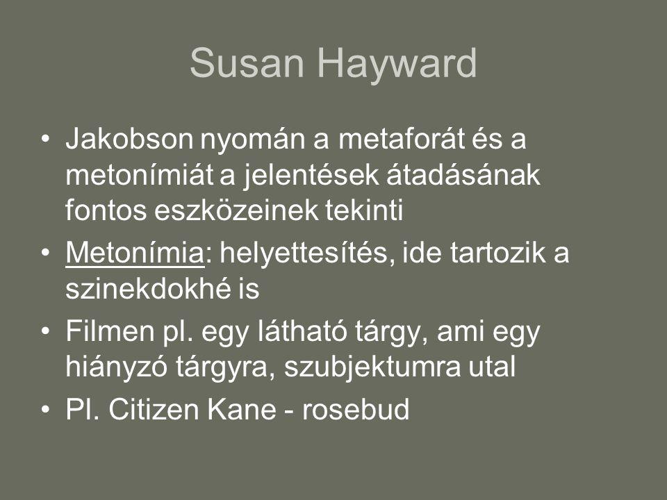Susan Hayward Jakobson nyomán a metaforát és a metonímiát a jelentések átadásának fontos eszközeinek tekinti Metonímia: helyettesítés, ide tartozik a