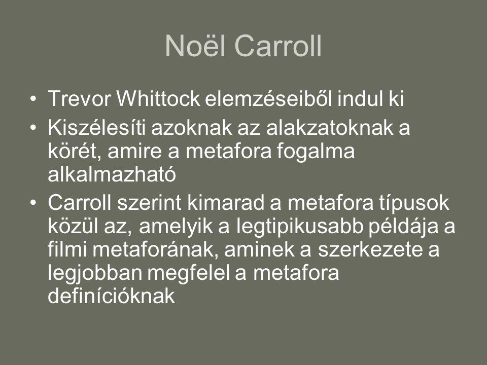 Noël Carroll Trevor Whittock elemzéseiből indul ki Kiszélesíti azoknak az alakzatoknak a körét, amire a metafora fogalma alkalmazható Carroll szerint kimarad a metafora típusok közül az, amelyik a legtipikusabb példája a filmi metaforának, aminek a szerkezete a legjobban megfelel a metafora definícióknak