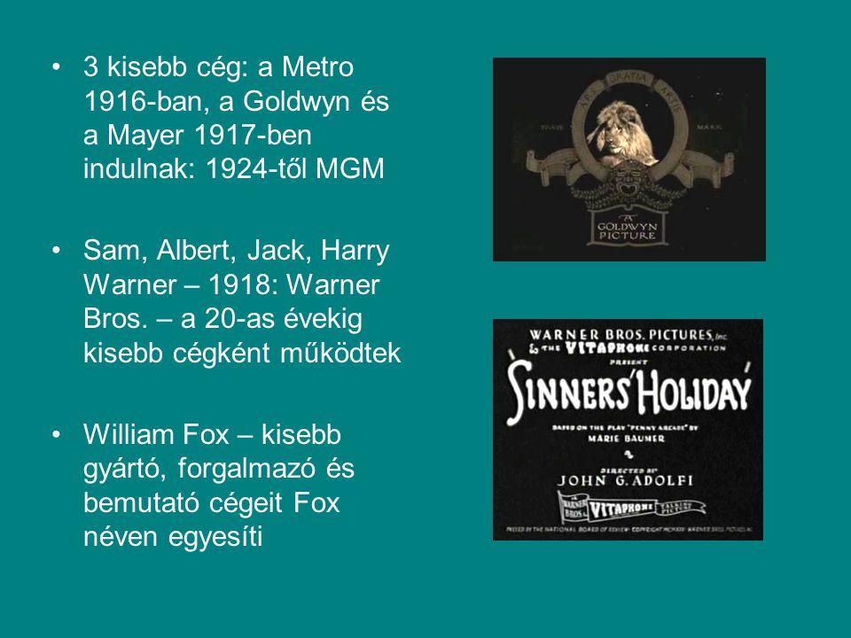 3 kisebb cég: a Metro 1916-ban, a Goldwyn és a Mayer 1917-ben indulnak: 1924-től MGM Sam, Albert, Jack, Harry Warner – 1918: Warner Bros. – a 20-as év
