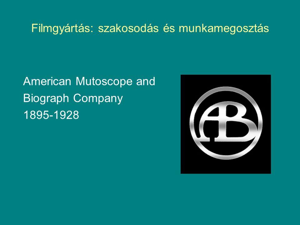 American Mutoscope and Biograph Company 1895-1928 Filmgyártás: szakosodás és munkamegosztás