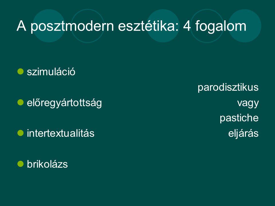 A posztmodern esztétika: 4 fogalom szimuláció előregyártottság intertextualitás brikolázs parodisztikus vagy pastiche eljárás