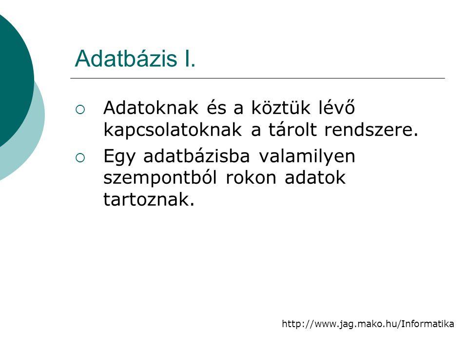 http://www.jag.mako.hu/Informatika Adatbázis I.  Adatoknak és a köztük lévő kapcsolatoknak a tárolt rendszere.  Egy adatbázisba valamilyen szempontb