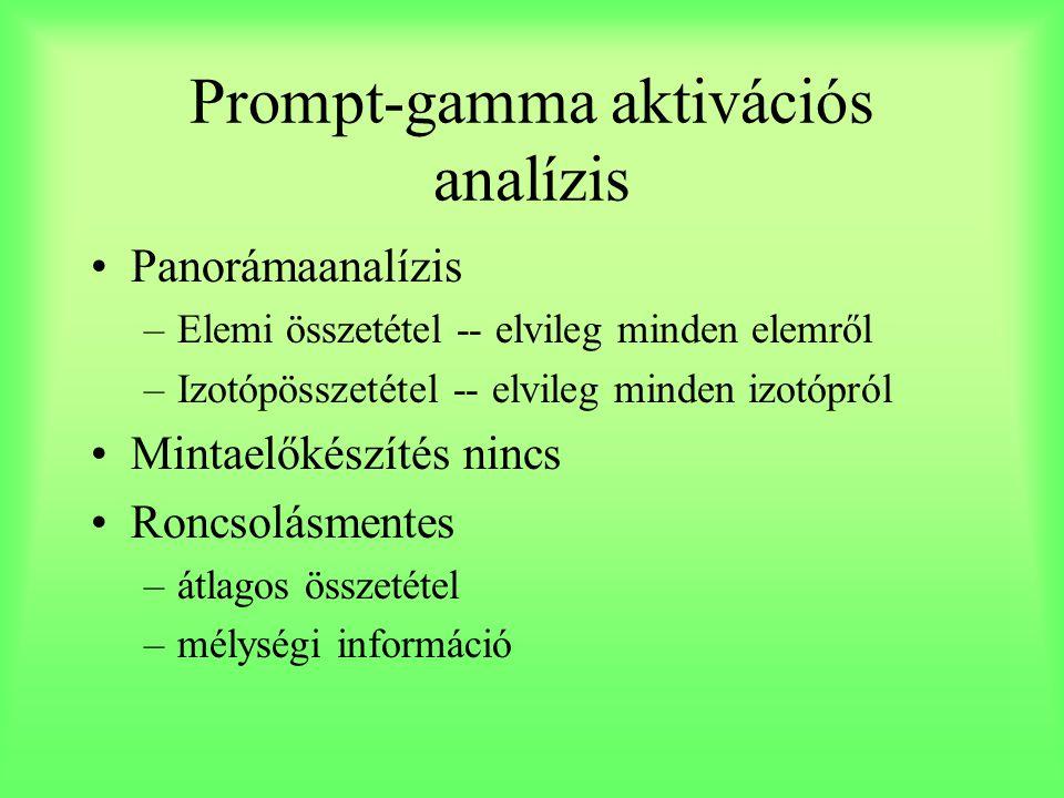 Prompt-gamma aktivációs analízis Panorámaanalízis –Elemi összetétel -- elvileg minden elemről –Izotópösszetétel -- elvileg minden izotópról Mintaelőké