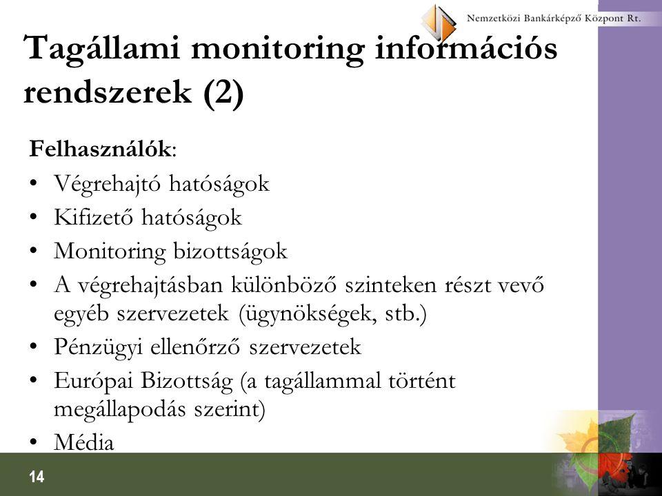 14 Tagállami monitoring információs rendszerek (2) Felhasználók: Végrehajtó hatóságok Kifizető hatóságok Monitoring bizottságok A végrehajtásban különböző szinteken részt vevő egyéb szervezetek (ügynökségek, stb.) Pénzügyi ellenőrző szervezetek Európai Bizottság (a tagállammal történt megállapodás szerint) Média