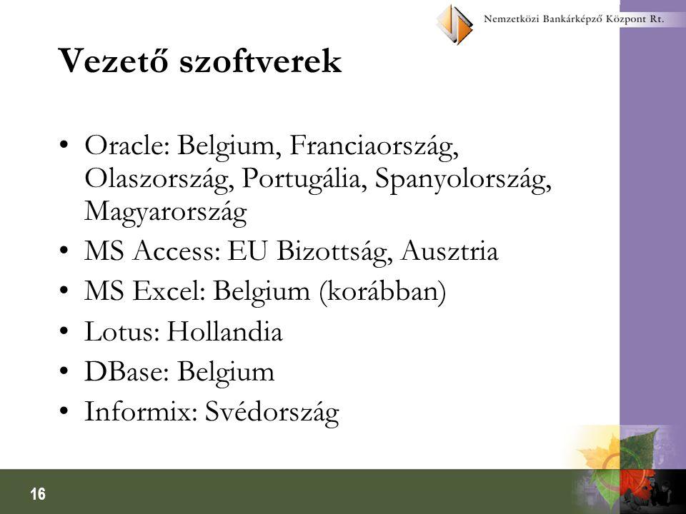 16 Vezető szoftverek Oracle: Belgium, Franciaország, Olaszország, Portugália, Spanyolország, Magyarország MS Access: EU Bizottság, Ausztria MS Excel: Belgium (korábban) Lotus: Hollandia DBase: Belgium Informix: Svédország