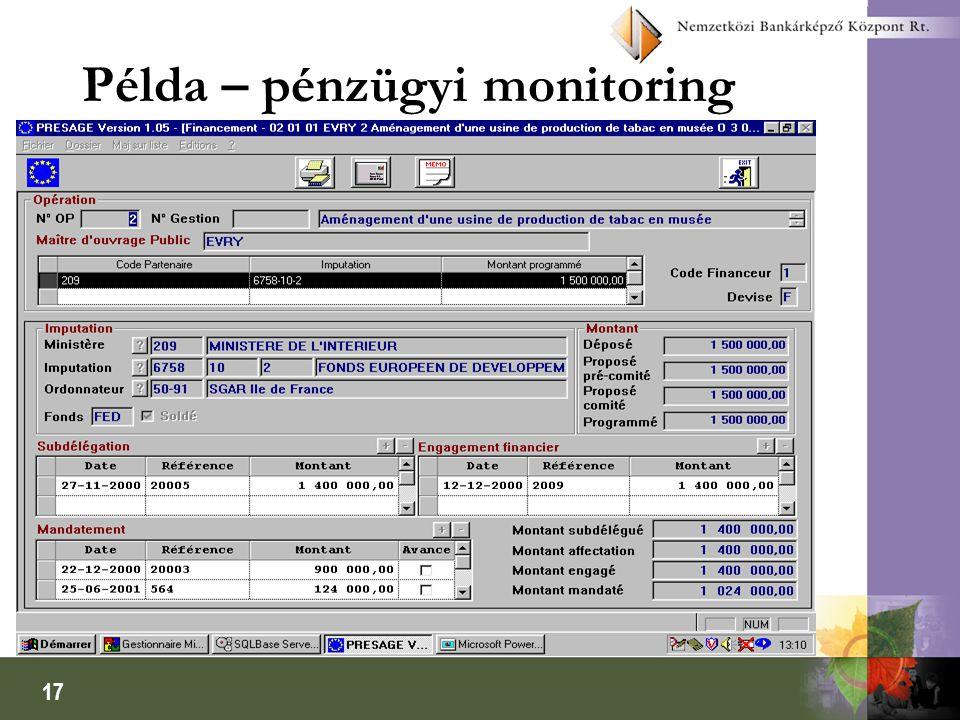 17 Példa – pénzügyi monitoring
