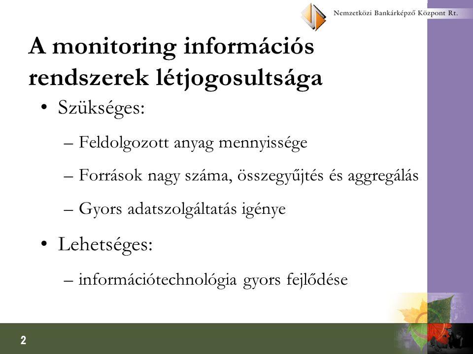 2 A monitoring információs rendszerek létjogosultsága Szükséges: –Feldolgozott anyag mennyissége –Források nagy száma, összegyűjtés és aggregálás –Gyors adatszolgáltatás igénye Lehetséges: –információtechnológia gyors fejlődése