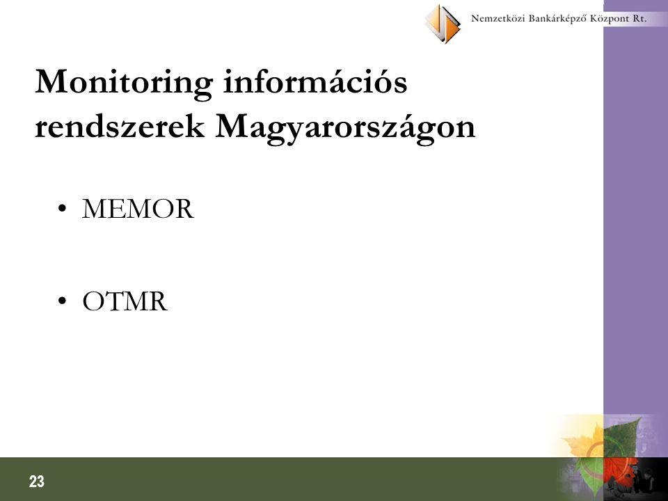 23 Monitoring információs rendszerek Magyarországon MEMOR OTMR