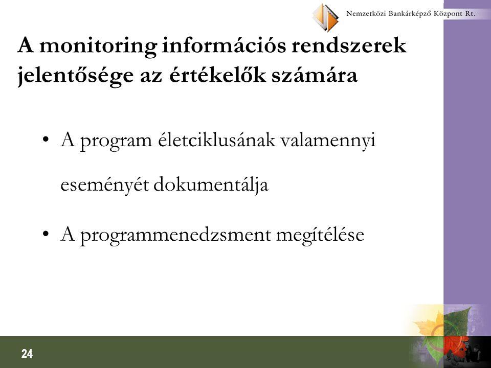 24 A monitoring információs rendszerek jelentősége az értékelők számára A program életciklusának valamennyi eseményét dokumentálja A programmenedzsment megítélése