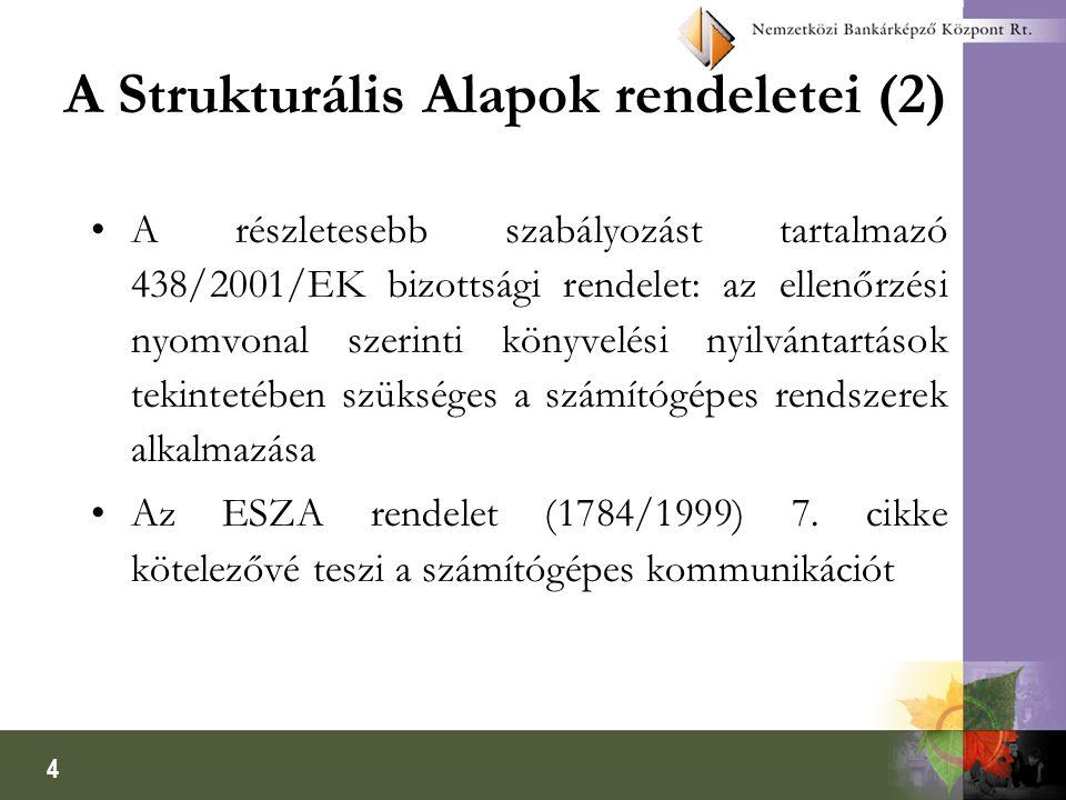 4 A Strukturális Alapok rendeletei (2) A részletesebb szabályozást tartalmazó 438/2001/EK bizottsági rendelet: az ellenőrzési nyomvonal szerinti könyvelési nyilvántartások tekintetében szükséges a számítógépes rendszerek alkalmazása Az ESZA rendelet (1784/1999) 7.