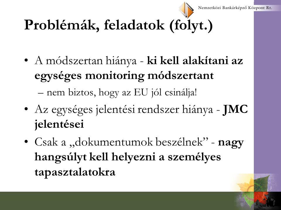 Problémák, feladatok A fejezeti monitoring bizottságok tagjai nem igazán tudják, mi a monitoring - képzés A projektek monitoringja helyett management értekezletek zajlanak - képzés Az FMB-k nincsenek tisztában az EU közbeszerzési eljárás-rendjével és azt nem is kísérik figyelemmel - képzés A monitoring ellenőrzési feladat - a titkárságoknak az elnök mellett kell működnie és monitoring szakemberekből kell állnia