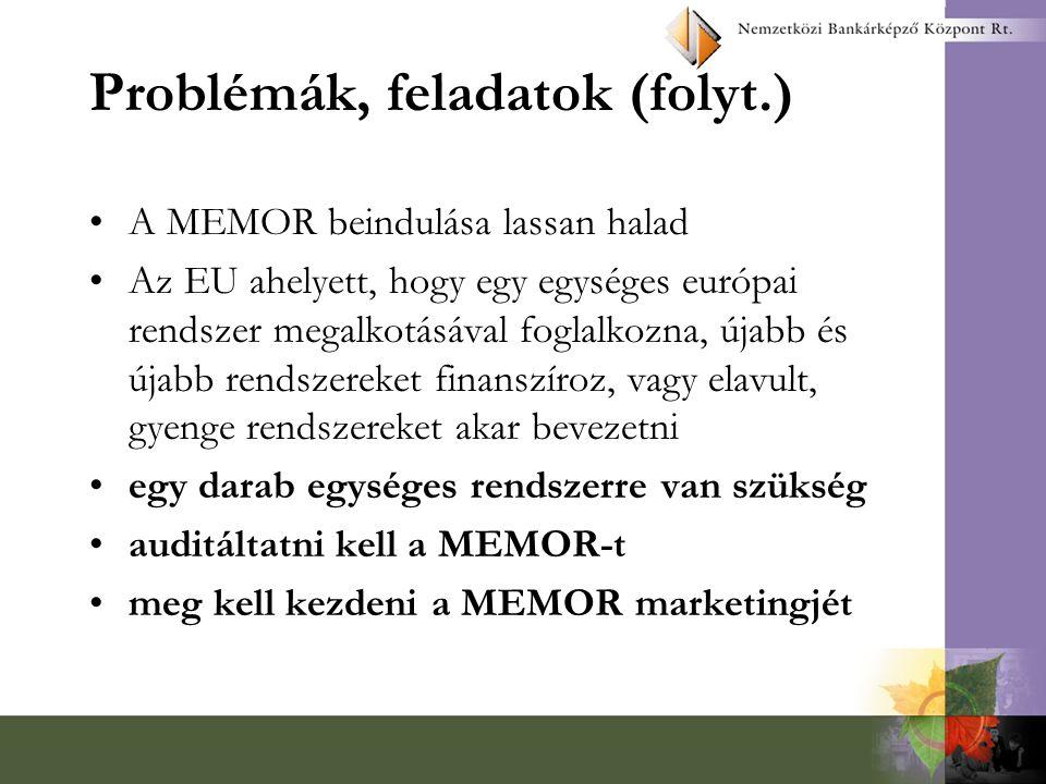 Problémák, feladatok (folyt.) A módszertan hiánya - ki kell alakítani az egységes monitoring módszertant –nem biztos, hogy az EU jól csinálja.