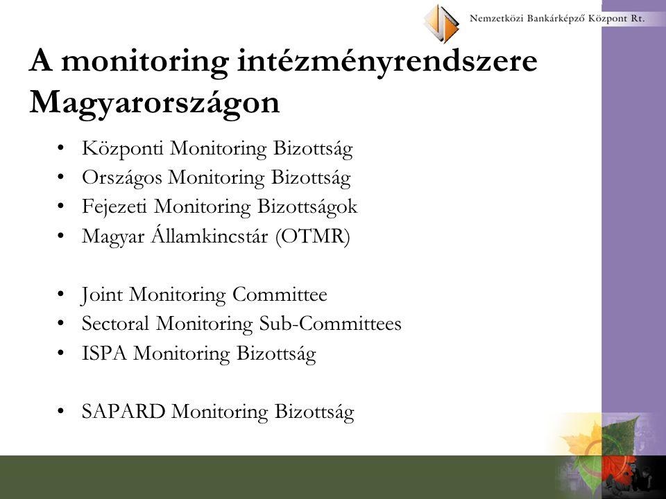 A monitoring funkciói a program, és ezen belül valamennyi projekt megvalósulásának figyelemmel kísérése fizikai és pénzügyi mutatók (ún.