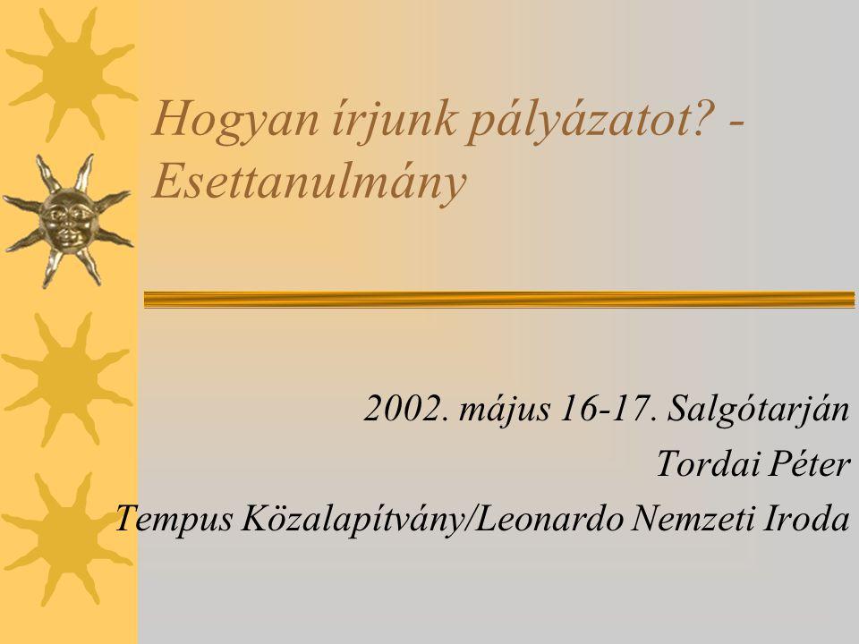 Hogyan írjunk pályázatot? - Esettanulmány 2002. május 16-17. Salgótarján Tordai Péter Tempus Közalapítvány/Leonardo Nemzeti Iroda