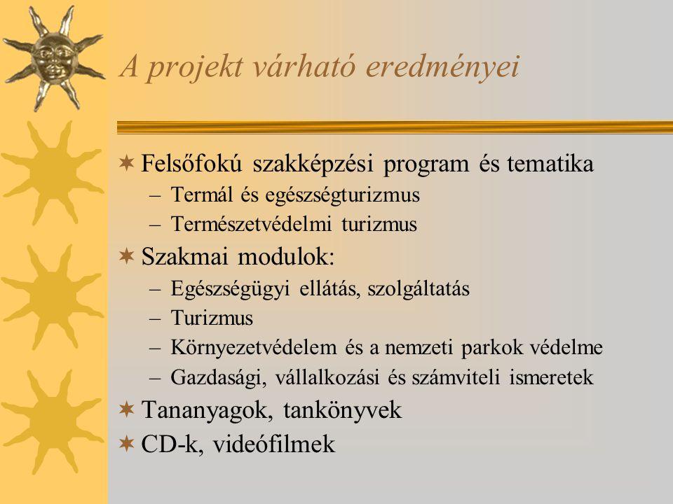 A projekt várható eredményei  Felsőfokú szakképzési program és tematika –Termál és egészségturizmus –Természetvédelmi turizmus  Szakmai modulok: –Eg