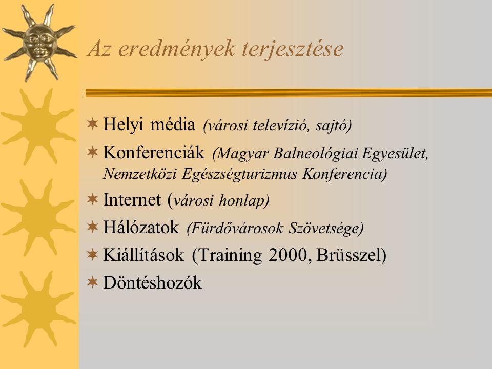 Az eredmények terjesztése  Helyi média (városi televízió, sajtó)  Konferenciák (Magyar Balneológiai Egyesület, Nemzetközi Egészségturizmus Konferencia)  Internet ( városi honlap)  Hálózatok (Fürdővárosok Szövetsége)  Kiállítások (Training 2000, Brüsszel)  Döntéshozók