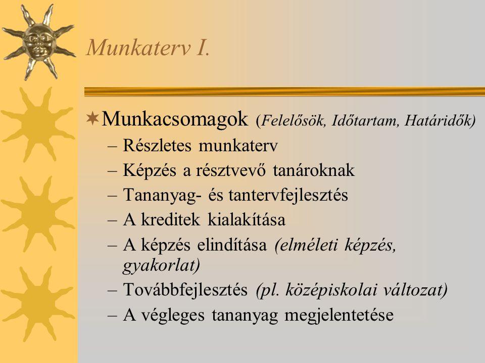 Munkaterv I.  Munkacsomagok (Felelősök, Időtartam, Határidők) –Részletes munkaterv –Képzés a résztvevő tanároknak –Tananyag- és tantervfejlesztés –A