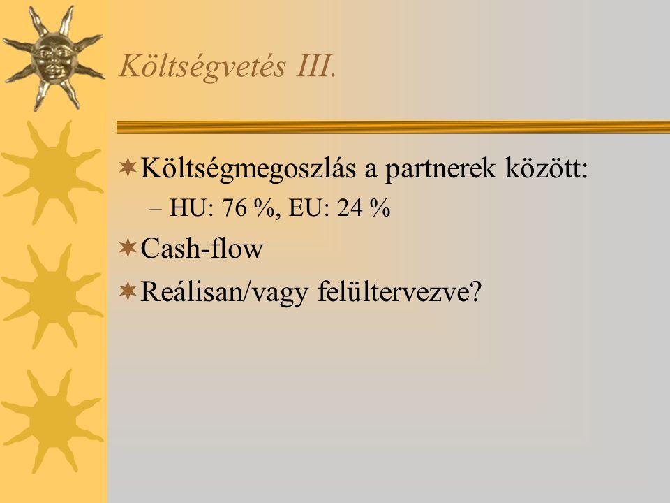 Költségvetés III.  Költségmegoszlás a partnerek között: –HU: 76 %, EU: 24 %  Cash-flow  Reálisan/vagy felültervezve?