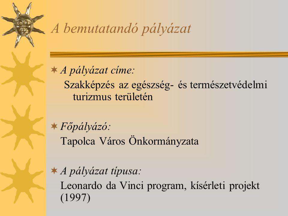 A bemutatandó pályázat  A pályázat címe: Szakképzés az egészség- és természetvédelmi turizmus területén  Főpályázó: Tapolca Város Önkormányzata  A pályázat típusa: Leonardo da Vinci program, kísérleti projekt (1997)