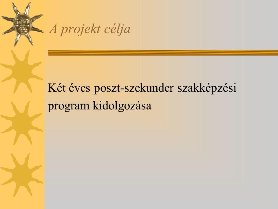A projekt célja Két éves poszt-szekunder szakképzési program kidolgozása