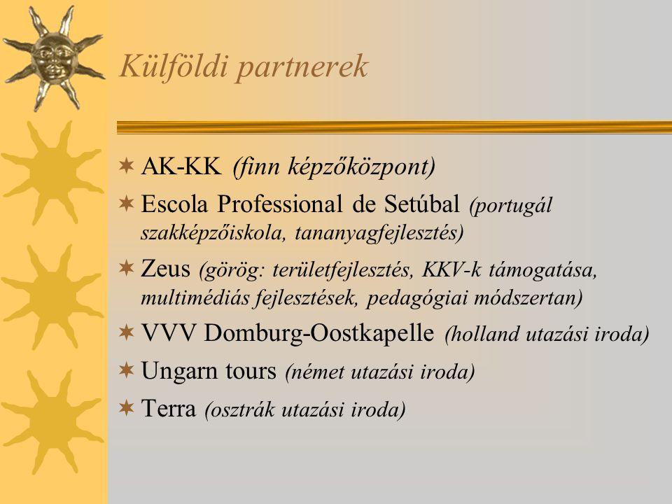 Külföldi partnerek  AK-KK (finn képzőközpont)  Escola Professional de Setúbal (portugál szakképzőiskola, tananyagfejlesztés)  Zeus (görög: területfejlesztés, KKV-k támogatása, multimédiás fejlesztések, pedagógiai módszertan)  VVV Domburg-Oostkapelle (holland utazási iroda)  Ungarn tours (német utazási iroda)  Terra (osztrák utazási iroda)