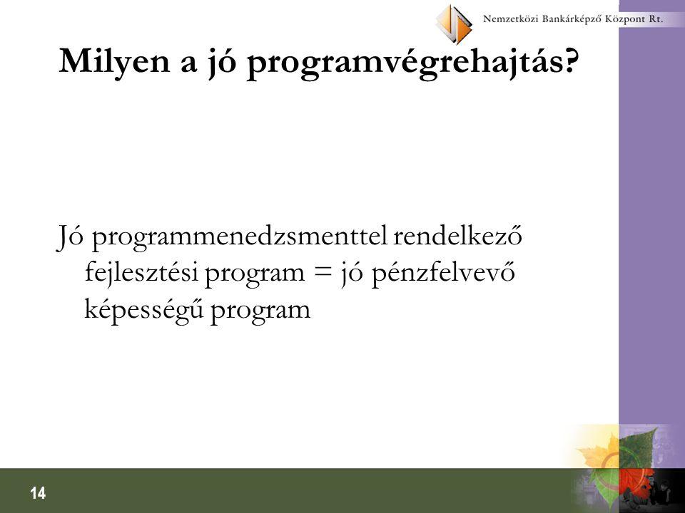 14 Milyen a jó programvégrehajtás? Jó programmenedzsmenttel rendelkező fejlesztési program = jó pénzfelvevő képességű program