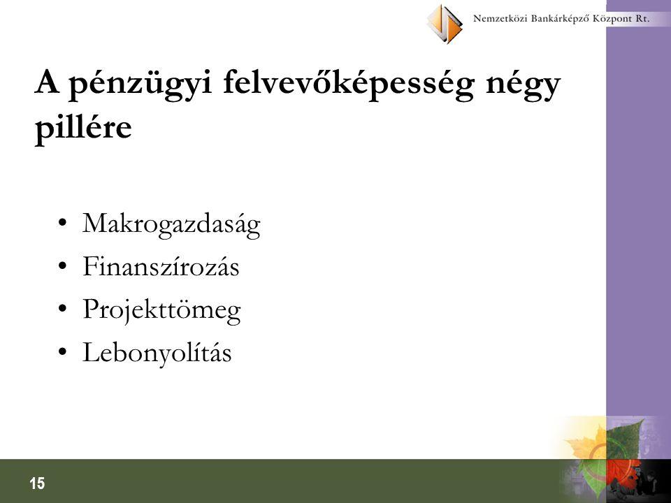 15 A pénzügyi felvevőképesség négy pillére Makrogazdaság Finanszírozás Projekttömeg Lebonyolítás