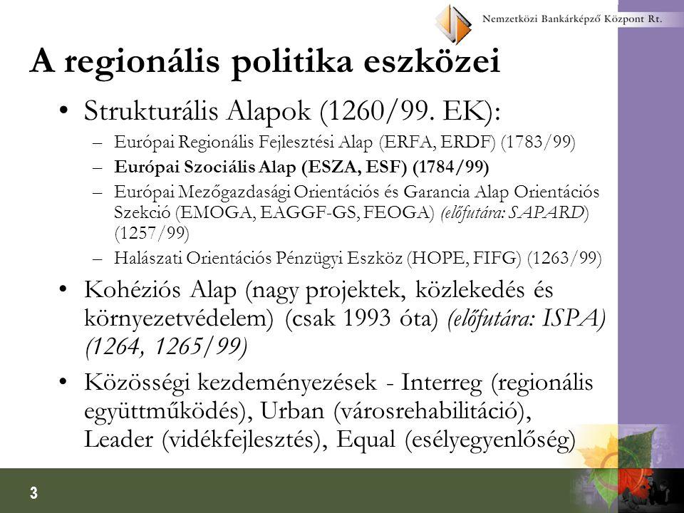 3 A regionális politika eszközei Strukturális Alapok (1260/99. EK): –Európai Regionális Fejlesztési Alap (ERFA, ERDF) (1783/99) –Európai Szociális Ala