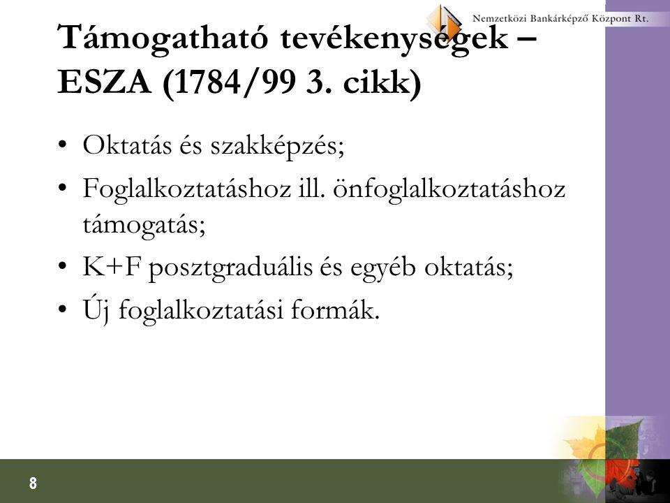 8 Támogatható tevékenységek – ESZA (1784/99 3. cikk) Oktatás és szakképzés; Foglalkoztatáshoz ill. önfoglalkoztatáshoz támogatás; K+F posztgraduális é